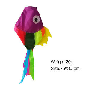 Colorful-Nylon-Fish-Windsock-Strong-Garden-Tent-Flag-Pole-Festival-75-30cm-FAX