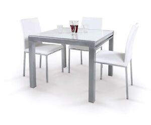 Tavolo Rettangolare Allungabile Quadrato.Tavolo Liberty Quadrato O Rettangolare Allungabile Silver C Vetro