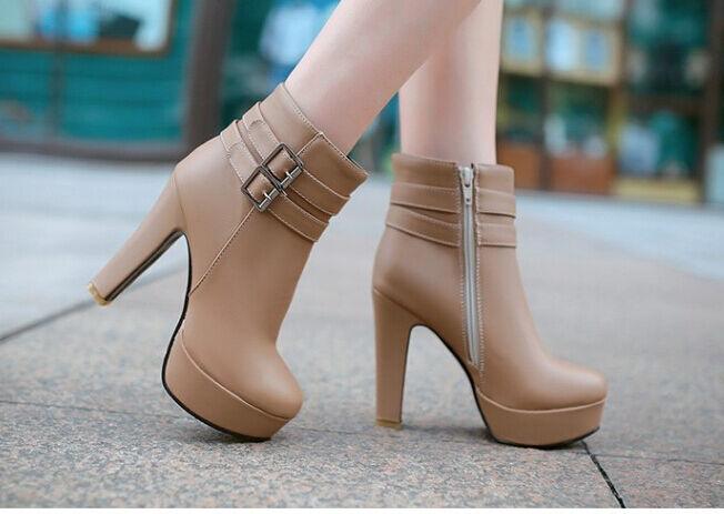 Bottes bottes confortable hauts femme talon 11 cm beige 8777