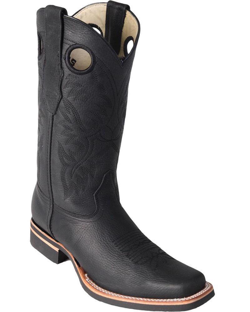 Los Altos dedo del pie cuadrado negro botas de vaquero occidental Rodeo De Cuero Genuino + Extra Ancho