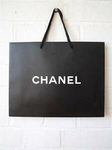 Chanel paper bag shopping gift bags new black authentic camellia image is loading chanel paper bag shopping gift bags new black negle Image collections