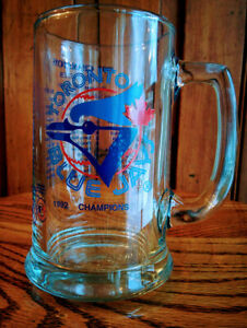 MLB-TORONTO-BLUE-JAYS-1992-Championship-Heavy-Glass-Beer-Mug-w-Handle-amp-Roster