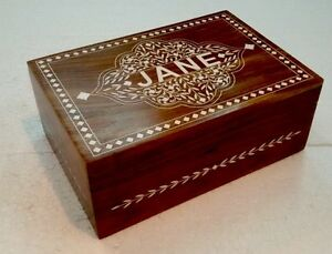 Details About Rosewood Indian Inlaid Personalised Jewellery Box With Mirror
