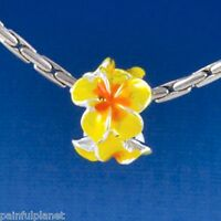 Hot Yellow/orange Plumeria Flower Large Hole European Charm Bead Usa Seller
