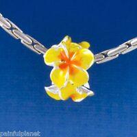 Hot Yellow/orange Plumeria Flower Large Hole European Charm Bead Usa Seller