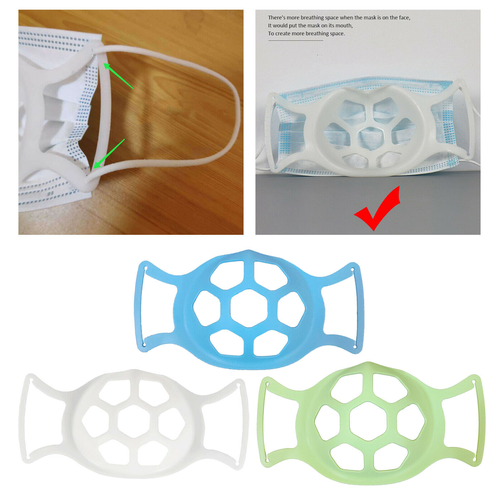 3D Face Mask Bracket Reusable Frame Silicone Lipstick Protection Breathable
