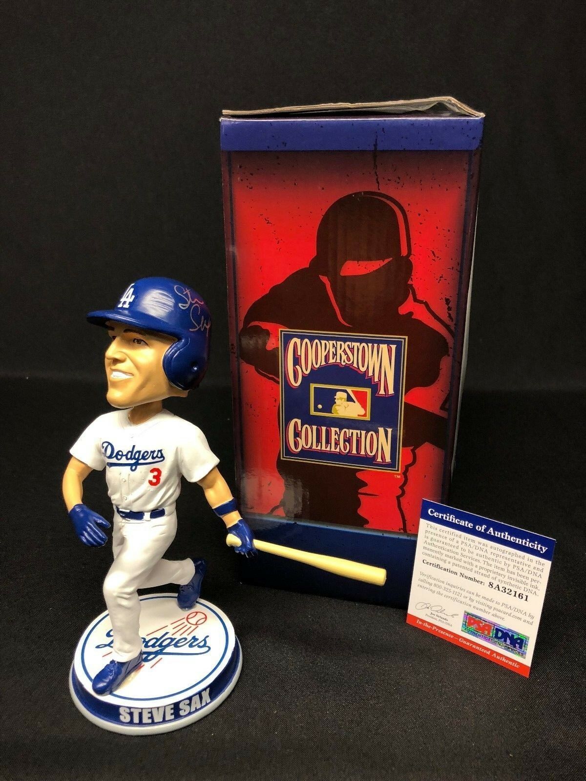 Steve Sax Signed Dodgers Cooperstown Collection Baseball Bobble-Head PSA