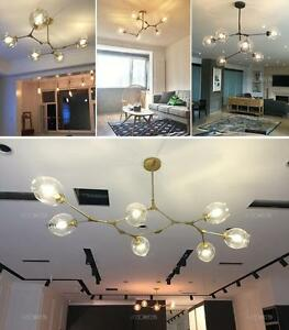 Details About 356789 Lights Branch Glass Chandelier Light Dining Room Lamp Black Gold