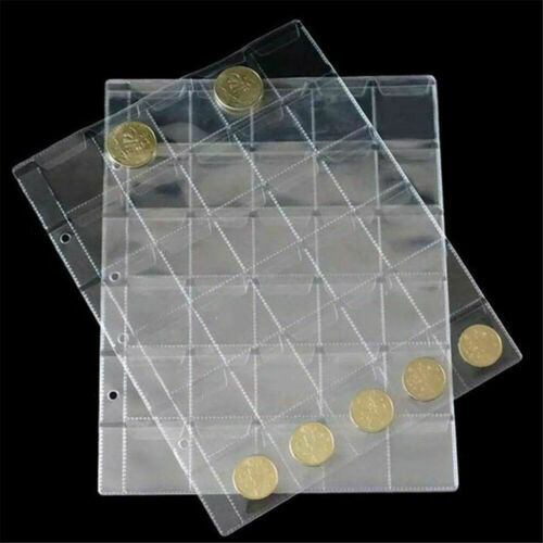 1Sheet 30 Classic Coin Collection Storage Album Page Folder Clear Pockets Holder