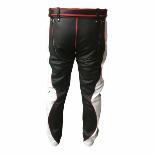 MENS BONDAGE PANTS BLACK RED AND WHITE LEATHER HEAVY DUTY JEANS