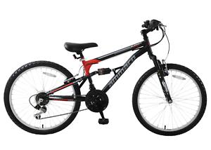 "Ammaco Summit 24/"" Wheel Boys Kid Dual Full Suspension Mountain Bike Black Age 8+"