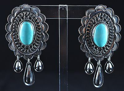 Sterling Silver Navajo Handmade Royston Turquoise Concho Earrings Andy Cadman