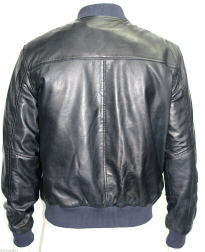 Bomber Style Navy Real Nappa Soft Leather 70's Retro Man Giacche Blue Tutte taglie le Zx8wq0F