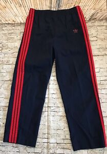 Vintage Adidas Men S Navy Track Pants Red Stripes And Trefoil Made