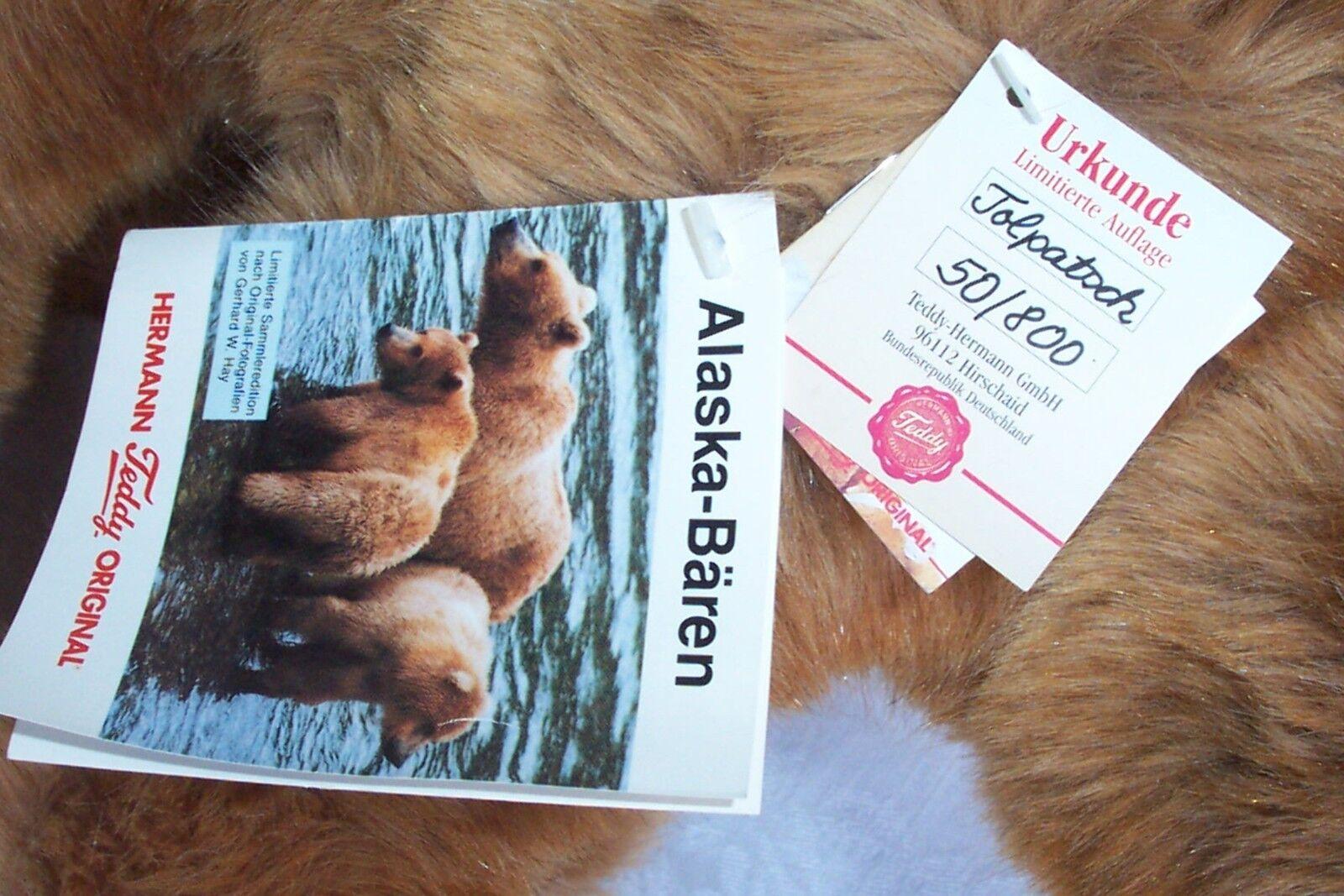 Hermann Teddy Original Alaska Bear Bear Bear Tolpatsch Limited Edition 50 800 New 478b2e