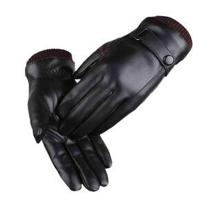 Cuir Véritable Homme noir écran tactile thermique isolé polaire doublé Gants