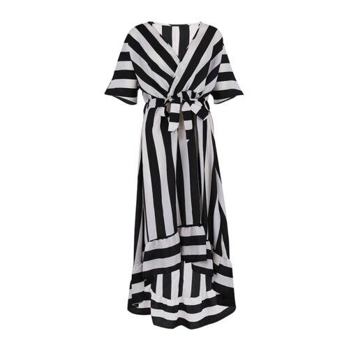 Womens Striped V Neck Bandage Long Dress Summer Beach Casual Loose Fit Sundress