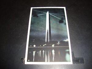 Washington Monument At Night Washington DC Vintage Post Card EX Condition 1930'S