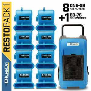 BlueDri Water Damage 1x Industrial Commercial Dehumidifier, 8x Air Mover, Blue