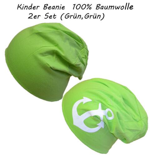 2 Stück Baumwolle Anker /& Uni Gr.43-47 cm Gr.S Kinder Mütze Mädchen Junge Beanie