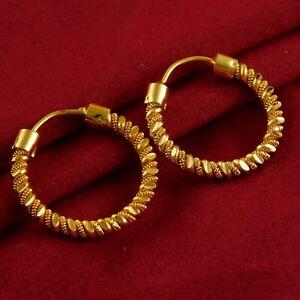 Details zu Indische Braut Vergoldet Ohrringe Damen Freizeit Party Tragen Reifen Modeschmuck