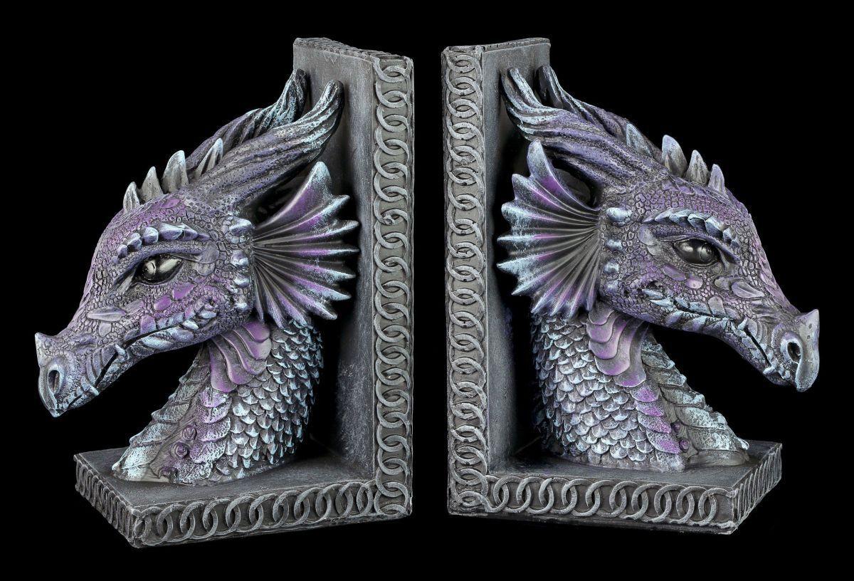 Drachen Drachen Drachen Buchstützen Set lila - Drachenköpfe Figur Gothic Fantasy Deko 39a152