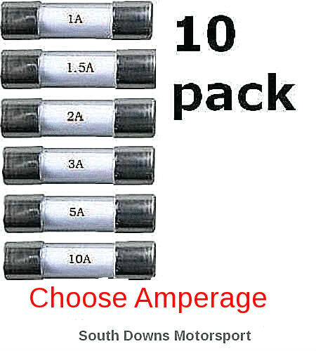 10 pack. 10 x 20mm Fast Acting Quick Blow Glass Fuses 1 To 10 AMP