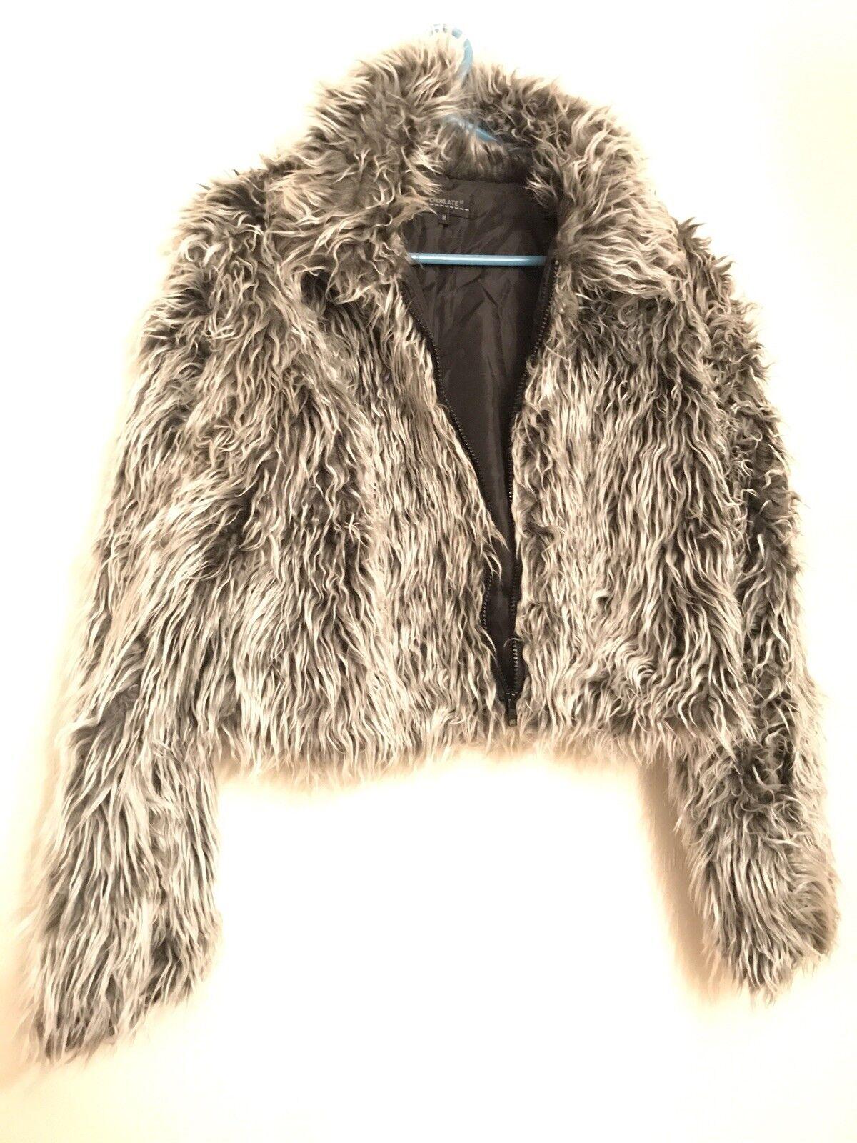 ... Fabulous vintage in pelliccia sintetica donna Giacca Nero Grigio Giacca  Bomber donna sintetica pelliccia 34b01a a37d9aebfe2