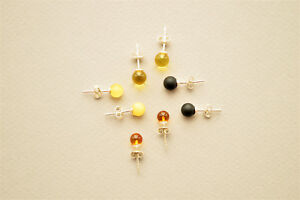 Natural-Baltic-Amber-Earrings-925-Sterling-Silver-Rounded-Gemstone-Beads-RAW