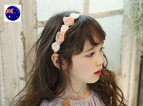 Flower Girls Children Kids Pink white Rose Lace Hair Band garland Headband PROP