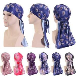 Durag Unisex Silky Bandana Men Doo Rag Wig Turban Pirate Hat Women Long Tail Cap