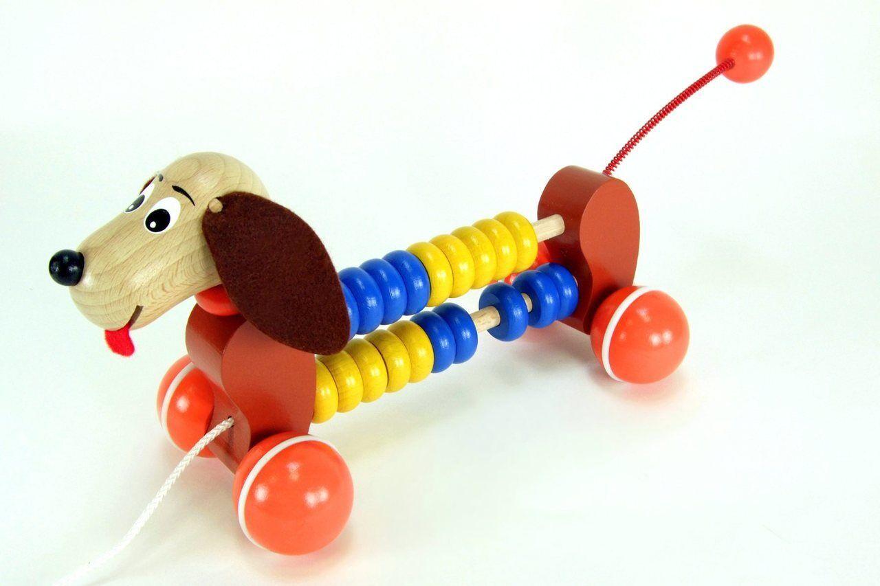 Herumziehen Abakus Hund   Cory   Holz Spielzeug