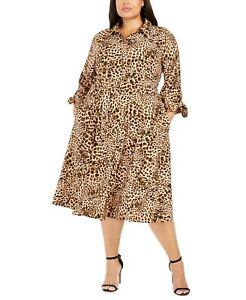 Calvin-Klein-NWT-Elegant-CAMEL-MULTI-Plus-Size-Leopard-Print-Midi-Shirt-dress