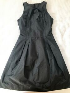 Cue Dress Sleeveless Black And Grey Stripe Work Dress Fit And Flare Sz 8