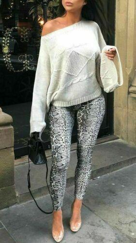 NUOVA L DONNA Animale Serpente Stampa Leopardata Lunghezza Intera Leggings Alla Moda