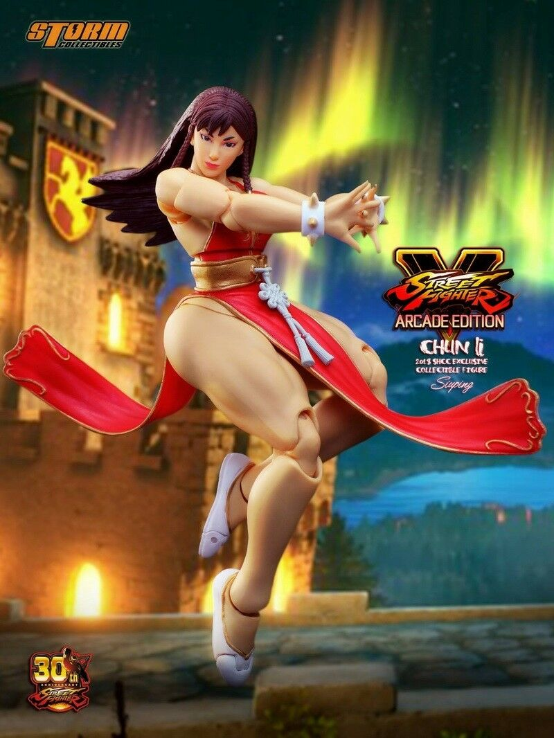 Storm Toys SHCC 2018 STREET FIGHTER Chun-Li Battle Costume in rosso 1/12 Figure