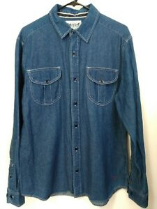 0ceeed4f26 Men s Large Levi s Two Horse Brand Denim Button Up Long Sleeve Blue ...