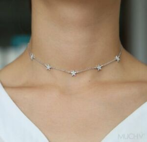Silver-Star-Choker-or-Necklace-Silver-Choker-925-Sterling-Silver-Star-Necklace
