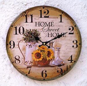 Details zu Wanduhr Vintage Küchenuhr Sonnenblume Italien grün gelb Landhaus  Uhr Küche Retro