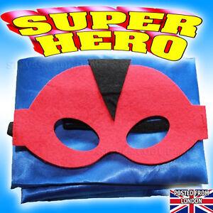 Superhero Costume Kids Boys Girls Fancy Dress Outfit Halloween Party Cape /& Mask