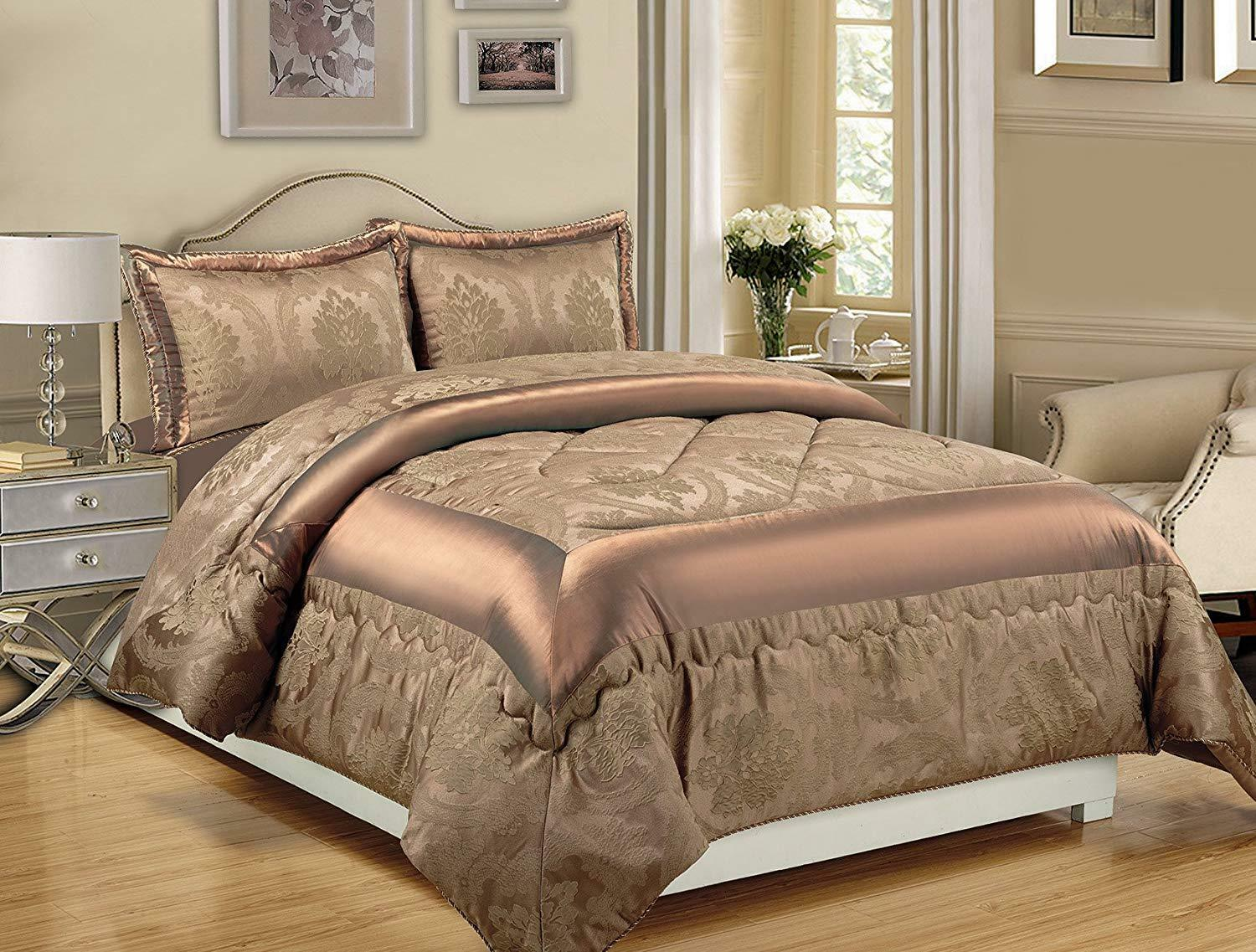 Betty 3Pc Jacquard Quilted Bedspread Comforter Bedding Set & 2 Pillow Cases