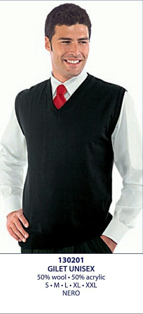 Isacco  Vest Unisex Wool Blend 2 Colours Receptionist Waiter Dining bar Hotel  simple and generous design