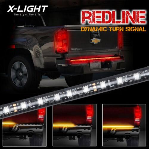 "60/"" TRIPLE Core LED Tailgate Bar Sequential Turn Signal Amber Rigid Brake Light"