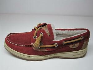 SPERRY-TOP-SIDER-SUEDE-LEATHER-FLEECE-LINING-LADIES-WOMEN-SLIP-ON-RED-5-5-6