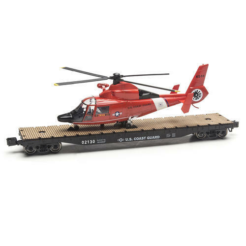 Menards  14-3 4  O Gauge Coast Guard Flatcar with Helicopter