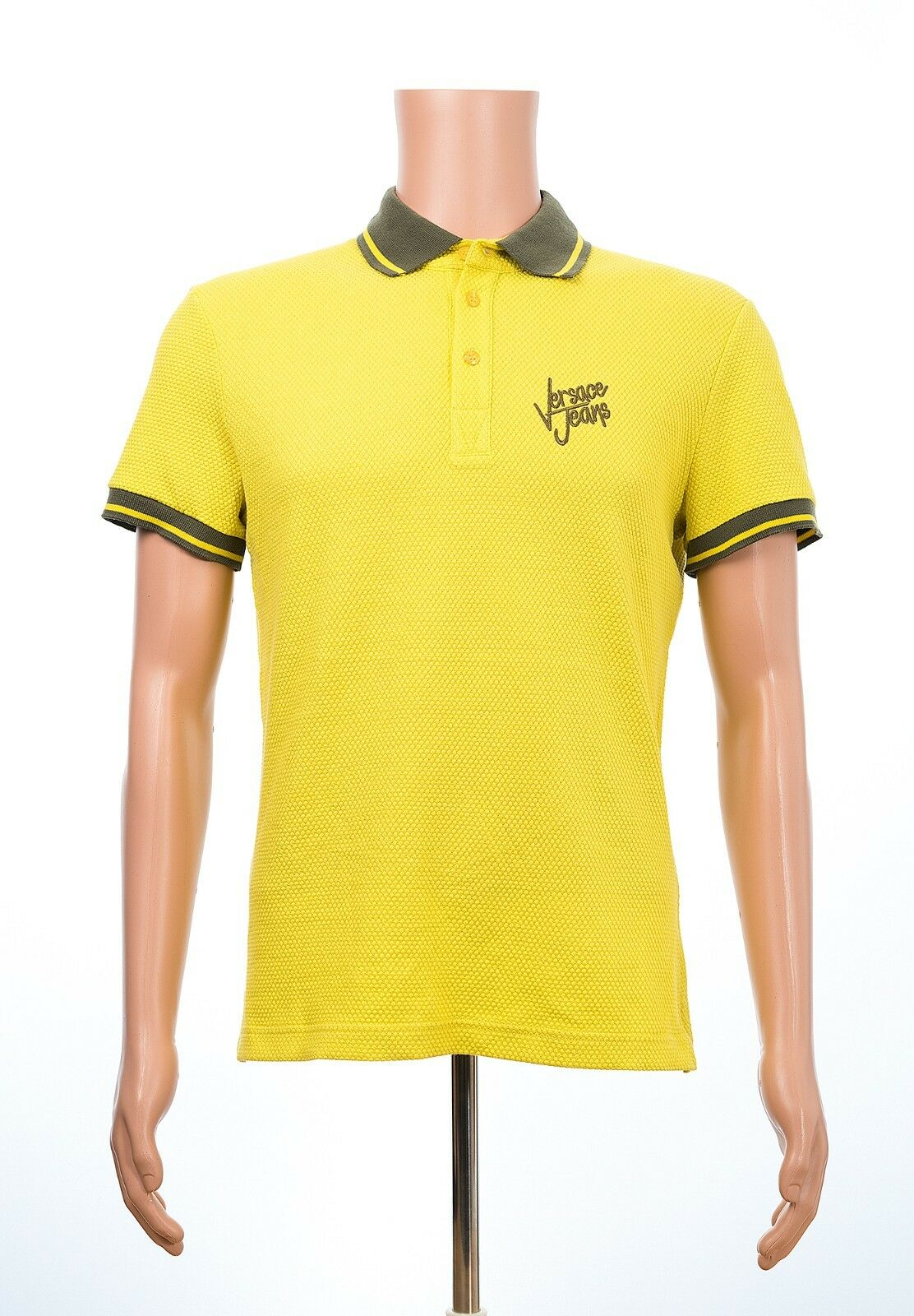 New Versace Jeans Jersey Honeycomb Yellow Polo Tee T-Shirt  sz M