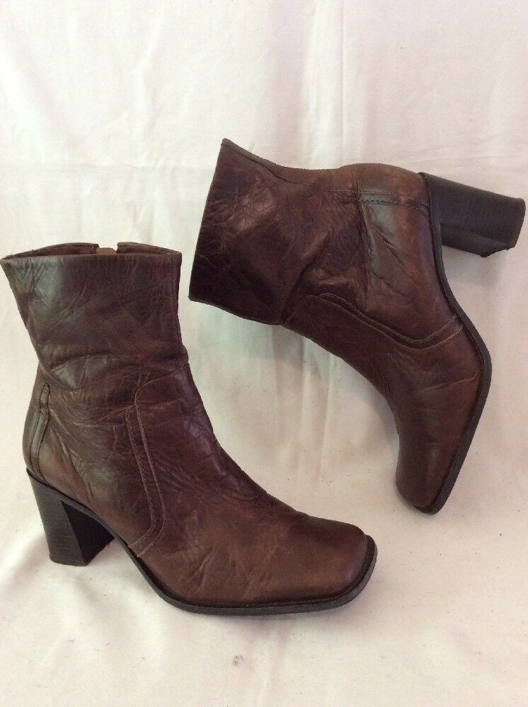 Faith Brown Ankle Leather Boots Size 7