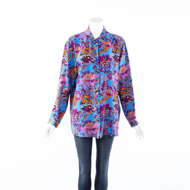 Etro Blouse Multicolor Floral Print Silk Long Sleeve SZ 50