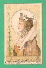 1902 BASCH ARPAD ART NOUVEAU POSTCARD DIGNIFIED REGAL LADY CROWN COLLAR FLOWERS