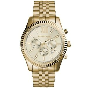 Orologio-Uomo-Michael-Kors-Lexington-MK8281-Cronografo-in-Acciaio-Dorato